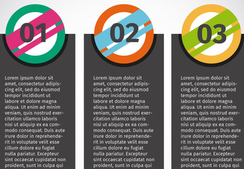 Vertical Tabs with Color Splashed Circular Headers Multipurpose Infographic