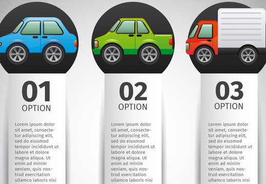 Vertical Transportation and Traffic Data with Cartoon Style Vehicle Icons