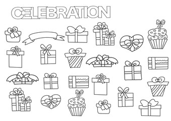 Hand drawn gift boxes set. Coloring book page template with presents.  Outline doodle vector illustration.