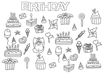 Hand drawn birthday set. Coloring book page template.  Outline doodle vector illustration.