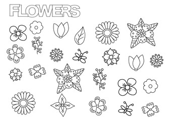Hand drawn flowers set. Coloring book page template.  Outline doodle vector illustration.