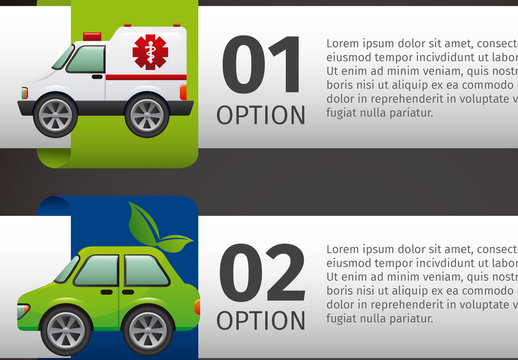 Horizontal Transportation and Traffic Data with Cartoon Style Vehicle Icons