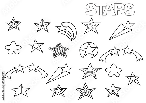 Hand drawn stars set. Coloring book page template. Outline doodle ...