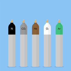 Gas cylinders in different colors. Cylinders for compressed tech