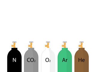 Gas cylinders in different colors. Flat design style
