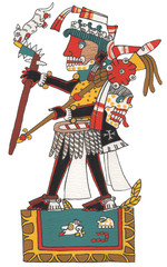 Mixtec warrior standing isolated holding ocelot.