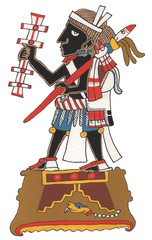 Mixtec warrior standing isolated with black skin and rattle.