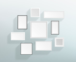 Vector Blank White Realistic Frames On A Wall Design