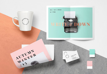 Pastel Poster and Stationery Mockup
