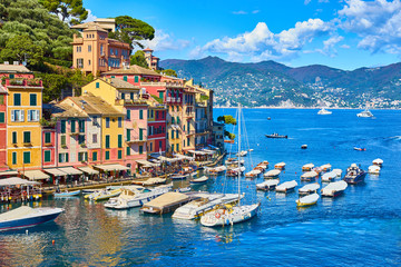"Old town of ""Portofino"" in Italy / Harbor on sunny summer day"