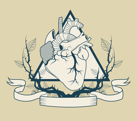 Heart with branches icon. Tattoo art urban style and culture theme. Vector illustration