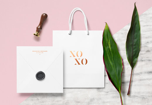 Bag and Notecard with Seal Mockup