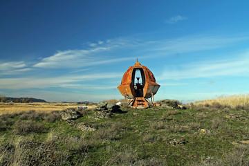 Rusty Metal UFO With Alien Silhouette