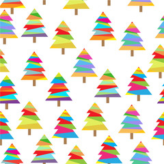 Seamless background of Christmas illustration with colorful Xmas tree on white background suitable for Wallpaper, postcard, and scrap paper