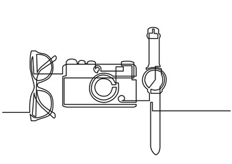 continuous line drawing of glasses camera watch