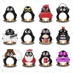 Penguin Set. Merry Christmas. Vector Illustration