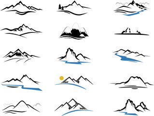 Mountains Icons cartoon for you design