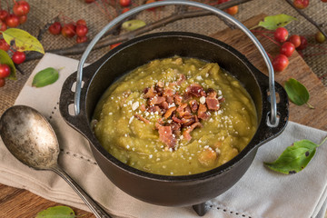 Split Pea Soup in a Cauldron for Halloween