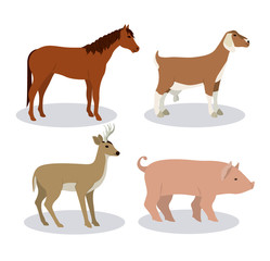 Horse deer goat and pork icon. Animal life nature and fauna theme. Vector illustration