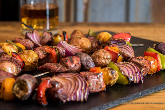 Grilled Steak and Vegetable Kabobs