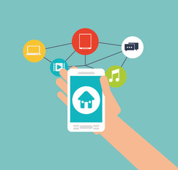 Smartphone and house icon. Social media multimedia and communication theme. Colorful design. Vector illustration