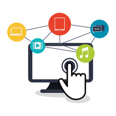 Computer icon. Social media multimedia and communication theme. Colorful design. Vector illustration