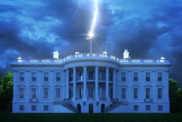 Fototapete - White House Lightning Strike