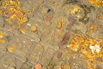 Buddha's Footprint at Mahachai Temple in Mahasarakham of Thailan