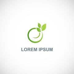 green leaf round organic logo