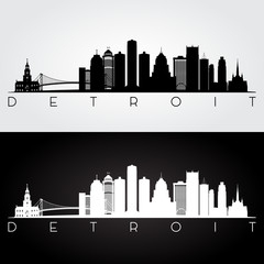 Detroit USA skyline and landmarks silhouette, black and white design, vector illustration.