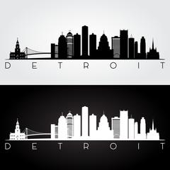Detroit USA skyline and landmarks silhouette, black and white design, vector illustration.