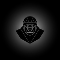 Symmetrical geometric vector illustration black gorilla.