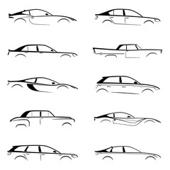 Set black car silhouette on white background. Vector collection.