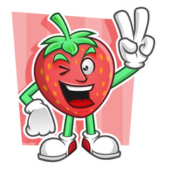 Peace Strawberry mascot. Strawberry character vector. Strawberry logo.