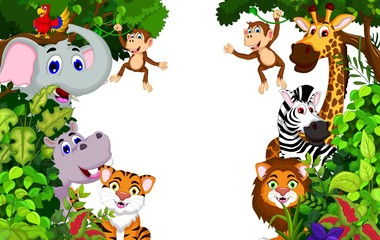 funny animal cartoon with forest background