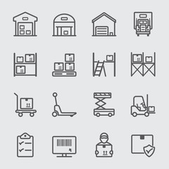 Warehouse line icon
