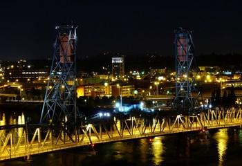 Portland at Night. Steel Bridge Over Willamette River. Oregon.
