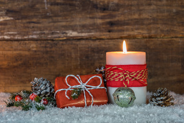 Frohes Fest Weihnachten Geschenk mit Kerze