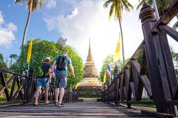 European couples tourists traval to Thailand. welcome to thailand. unseen in thailand