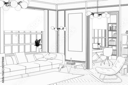 Konzept einer wohnzimmereinrichtung skizze imagens e for Wohnzimmereinrichtung 2016