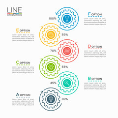 Thin line business infographic template with gears cogwheels 6 steps, processes, parts, options. Vector illustration.