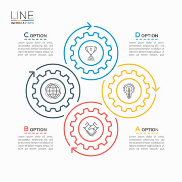 Thin line circle infographic template with gears cogwheels 4 steps, processes, parts, options. Vector illustration.