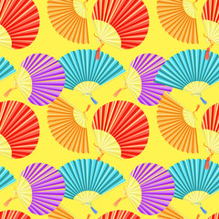 seamless pattern colorful Japanese fan of on a yellow background