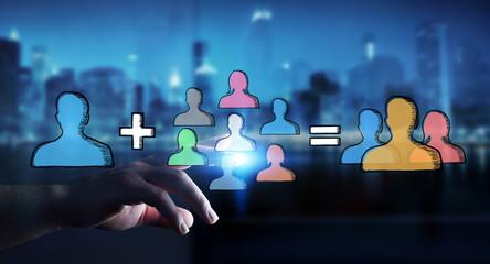 Businessman touching hand drawn social network