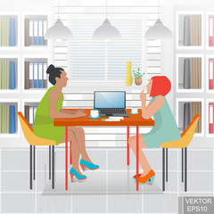 Working in the office. A business meeting. A successful deal. Discussion. Concept of success. For your design.