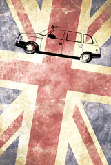 London taxi with Union Jack flag