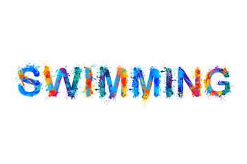 Swimming. Splash paint inscription