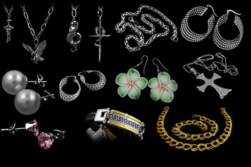 A set of jewels on black background