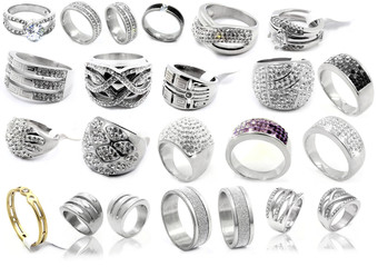 Rings - Set of jewelry on a white background