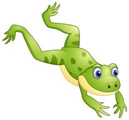 Cute frog cartoon leaping